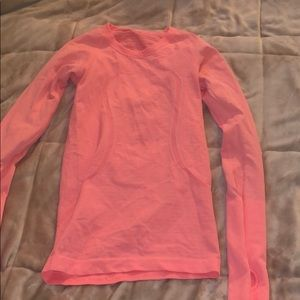 Pink lululemon long sleeve shirt size 2